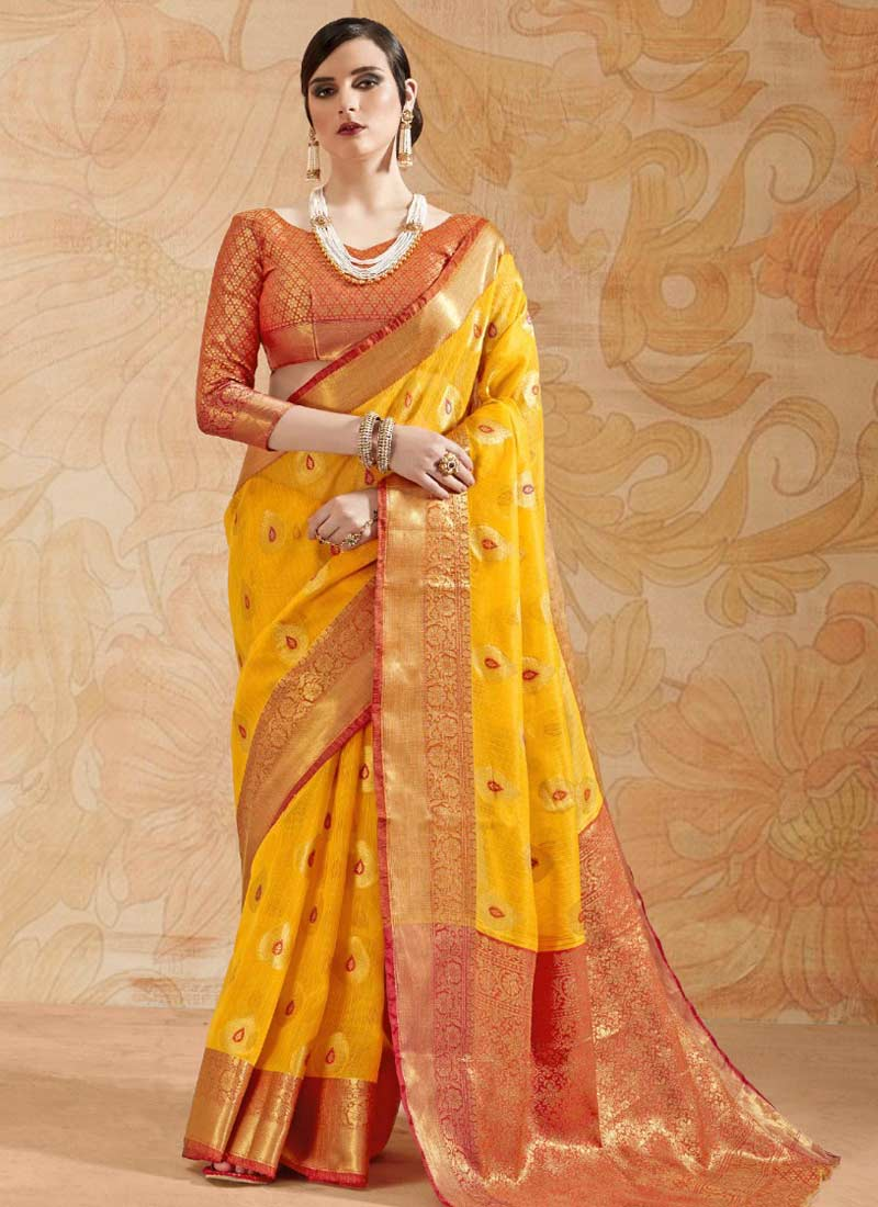 Mustard and Orange Thread Trendy Saree