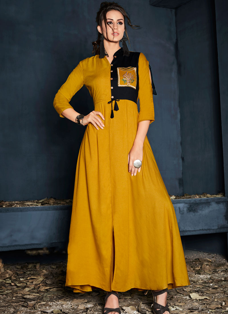 Mustard Resham Rayon Party Wear Kurti