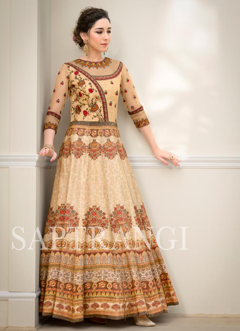 Mystic Beige Designer Gown