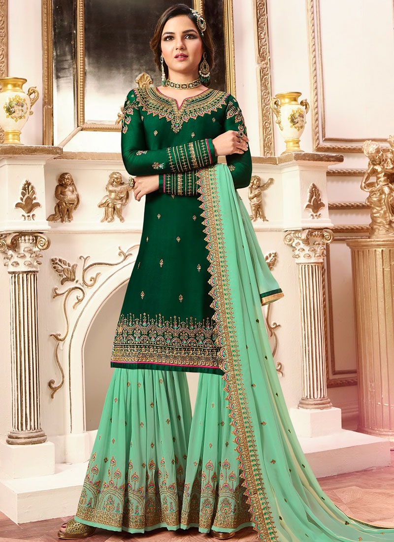 16f3ac5af3 Mystic Faux Georgette Green Embroidered Designer Pakistani Suit. Hover to  zoom