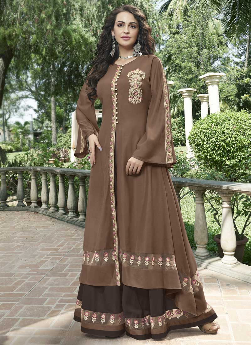 Mystical Fancy Fabric Brown Embroidered Designer Gown
