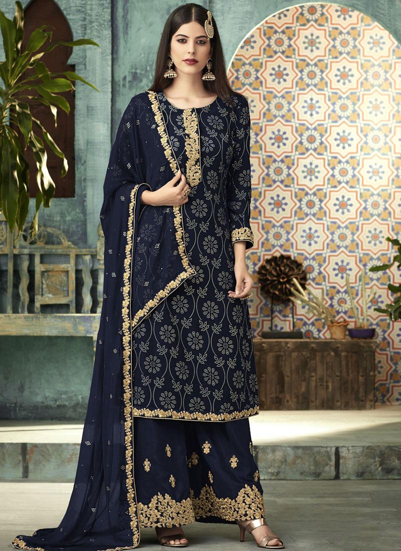 Navy Blue Art Silk Sangeet Designer Palazzo Suit
