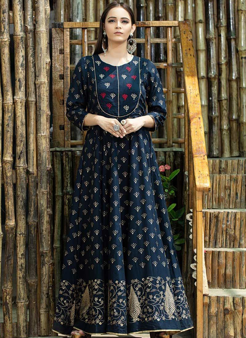 Navy Blue Print Maslin Cotton Trendy Gown