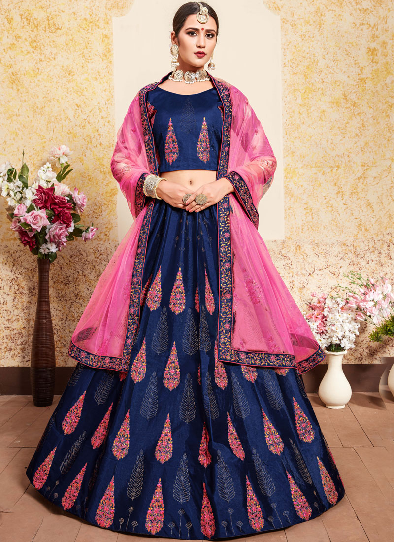 Navy Blue Wedding Satin Designer Lehenga Choli