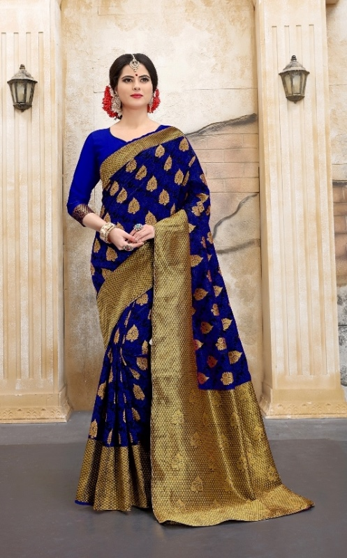 Navyblue silk abstract print banarasi saree