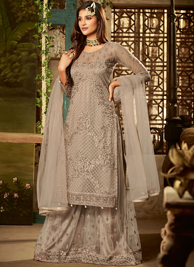 Net Beige Resham Designer Pakistani Suit