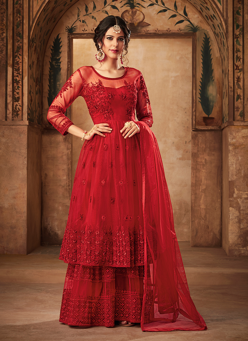 Net Designer Pakistani Suit in Red with dupatta
