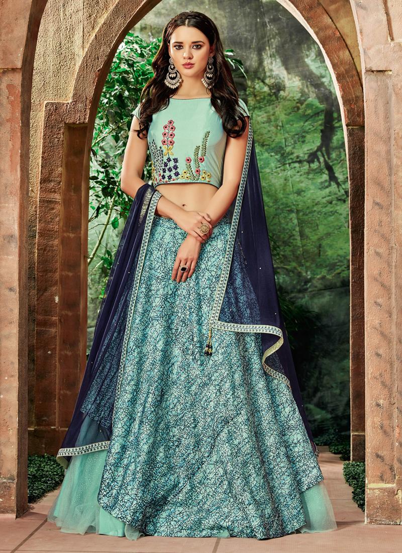 Net Embroidered Lehenga Choli in Blue