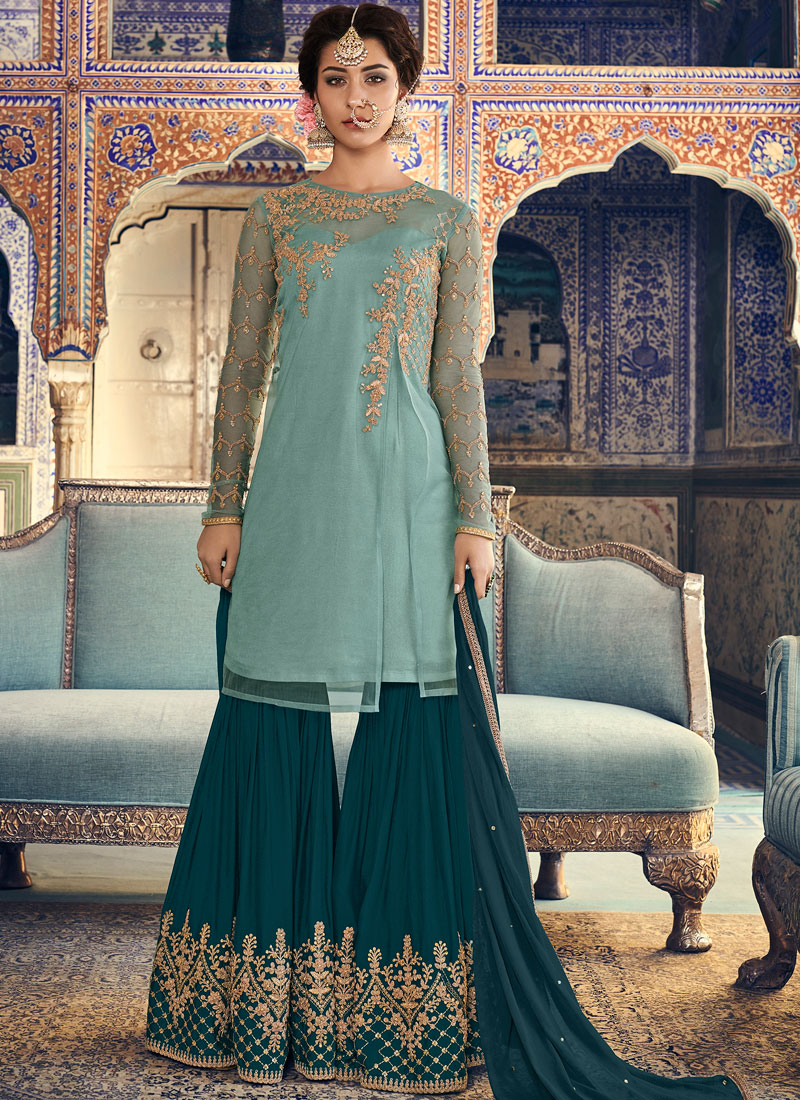 Net Embroidered Turquoise Designer Palazzo Salwar Kameez
