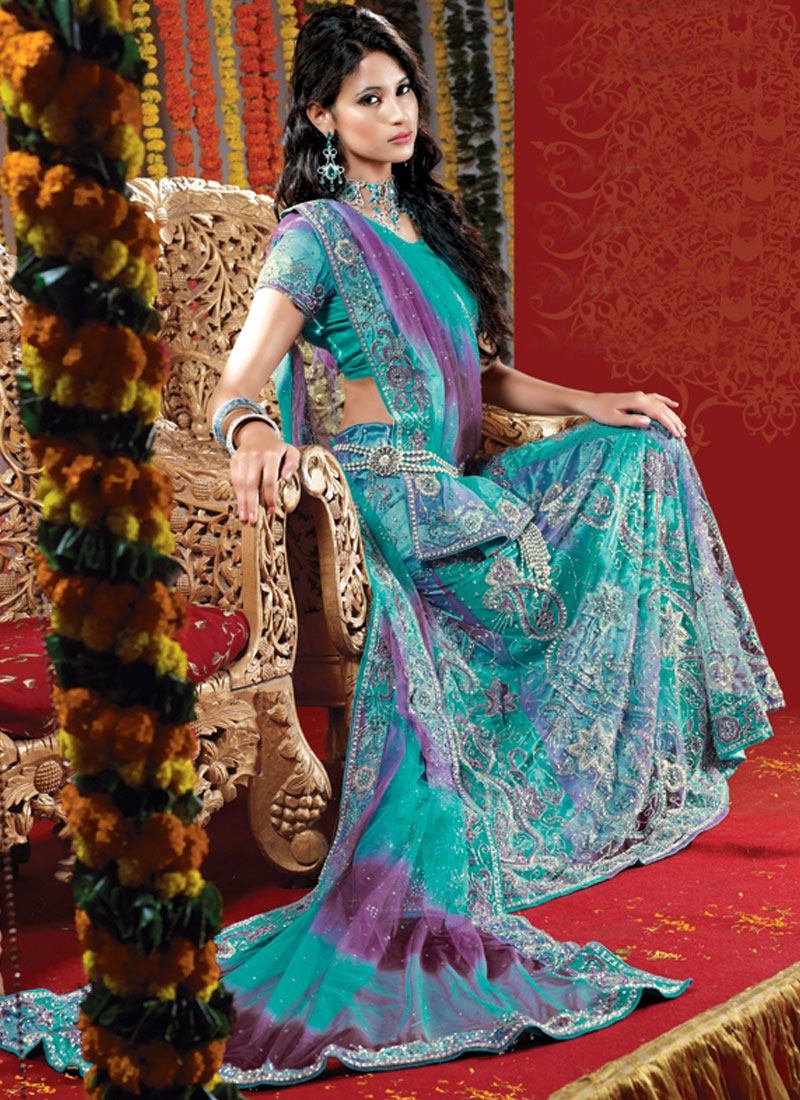 Net Fancy Handwork Bridal Lehenga Choli in Blue