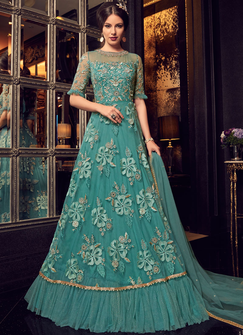 ed756d39c2 Net Green Embroidered Floor Length Anarkali Suit. Hover to zoom