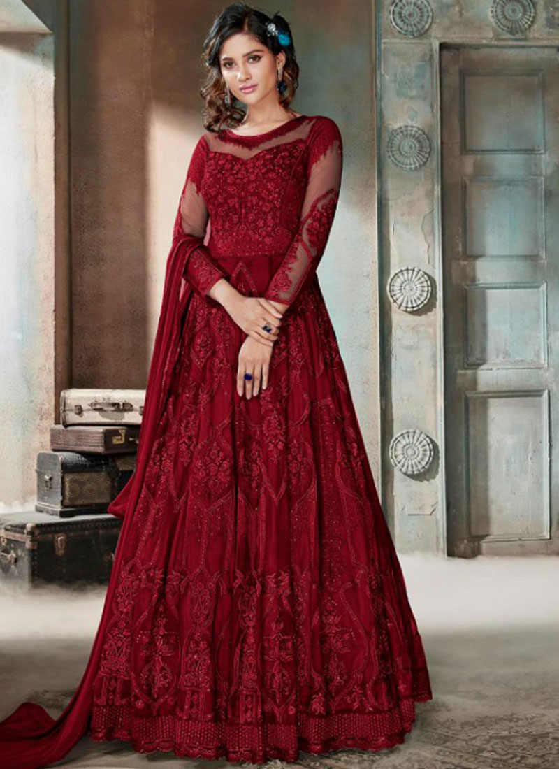 Net Maroon Embroidered Anarkali Salwar Suit