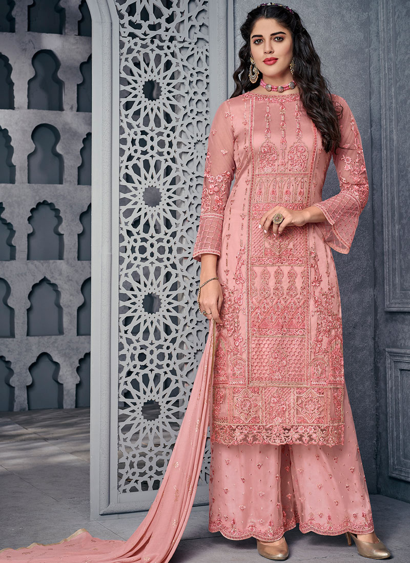 Net Pink Embroidered Designer Palazzo Salwar Kameez