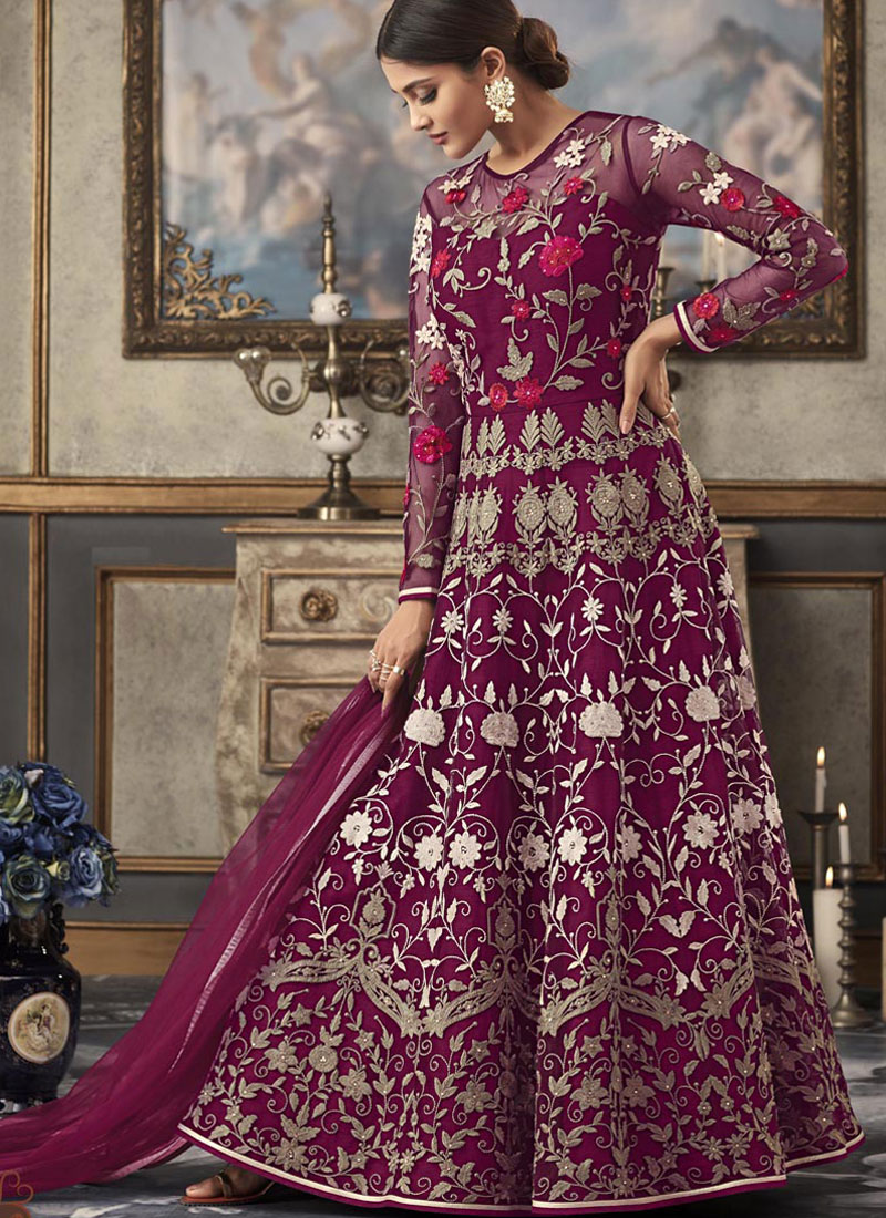 Net Purple Resham Floor Length Anarkali Suit