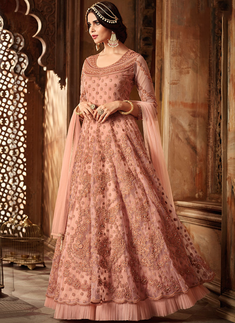 Net Resham Peach Floor Length Anarkali Suit
