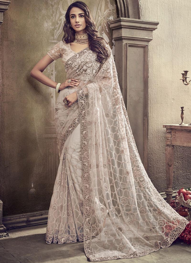 Net Sequins Classic Designer Saree in White