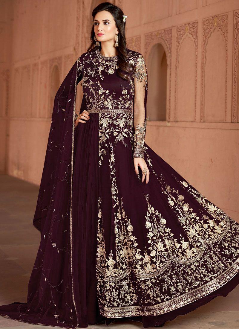 Net wine Embroidered Designer Salwar Suit