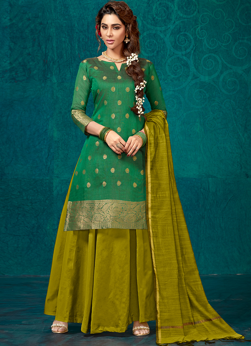 Nice Fancy Green Jacquard Silk Readymade Lehenga Choli