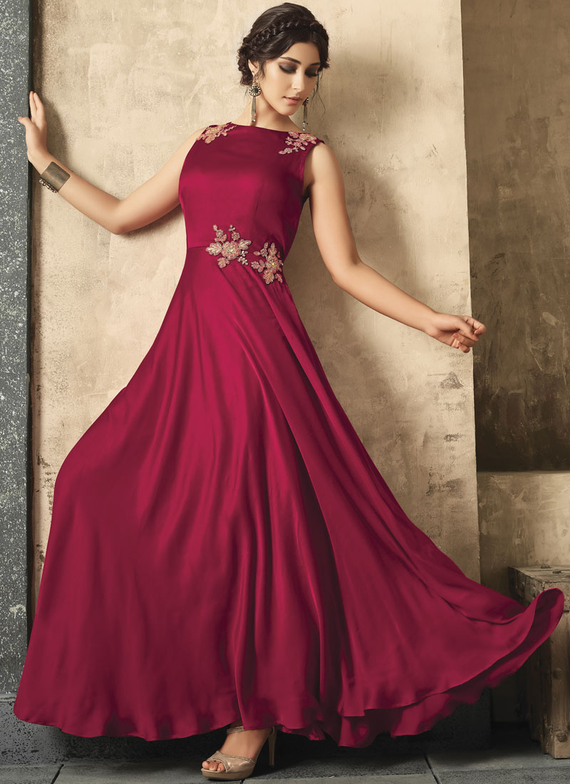 Nice Maroon Embroidered Trendy Gown