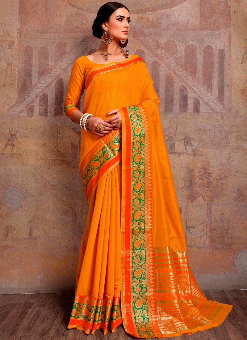 c8ec3df6428 Noble Cotton Silk Woven Yellow Traditional Designer Saree