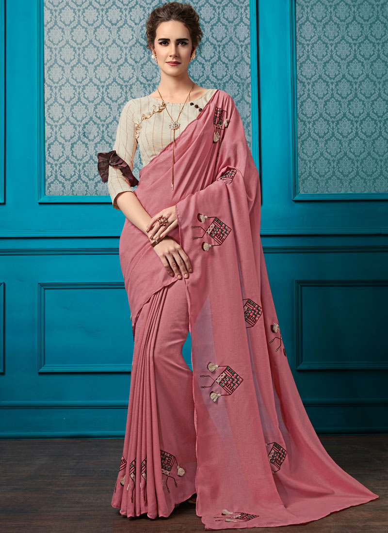 Embroidered Faux Georgette Pink Saree
