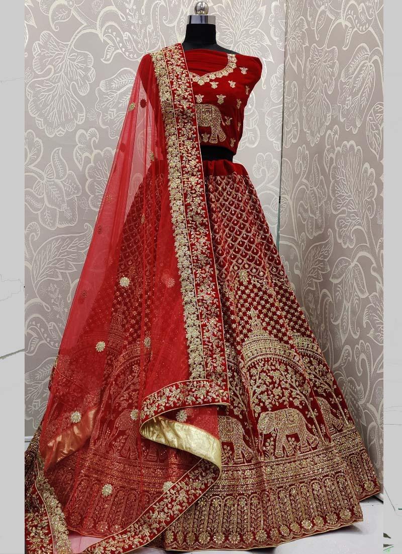 Obsessing Gajraj Red Bridal Lehenga Choli