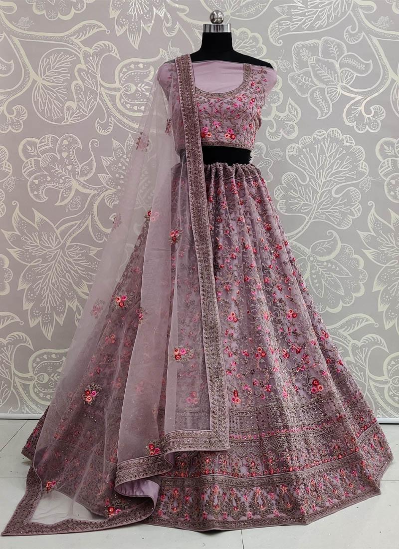 Onion Purple Designer Wedding Lehenga Choli