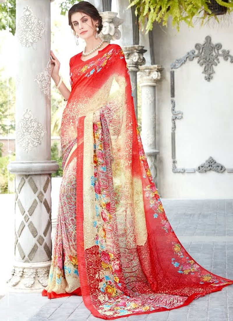 Opulent Faux Georgette Casual Printed Saree