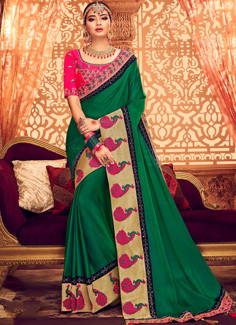 Opulent Green Mehndi Classic Saree
