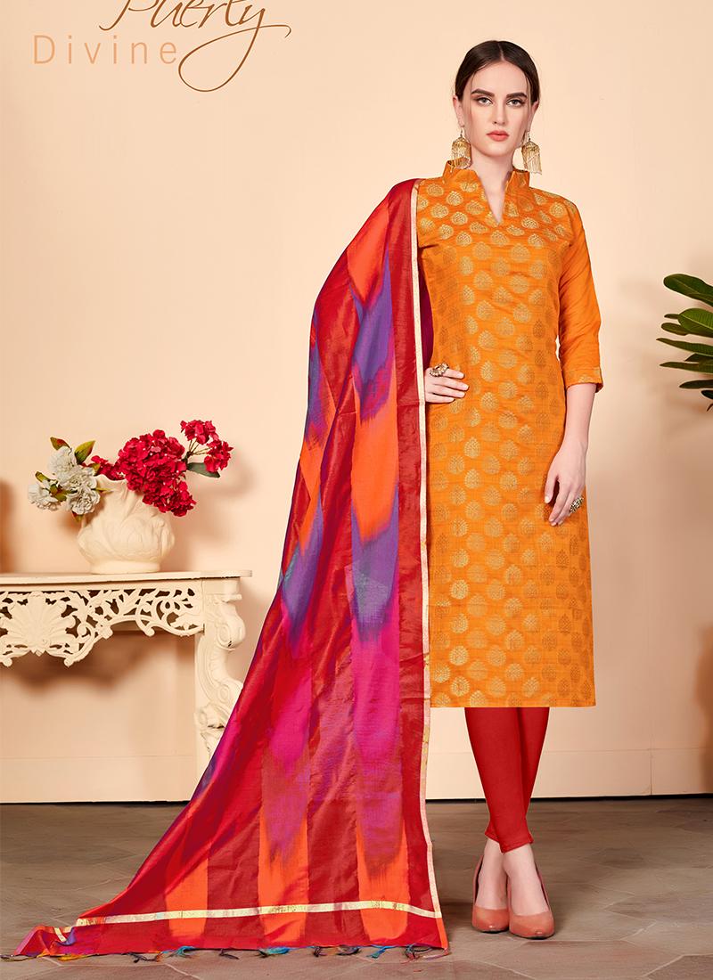 Orange Abstract Print Casual Churidar Salwar Kameez
