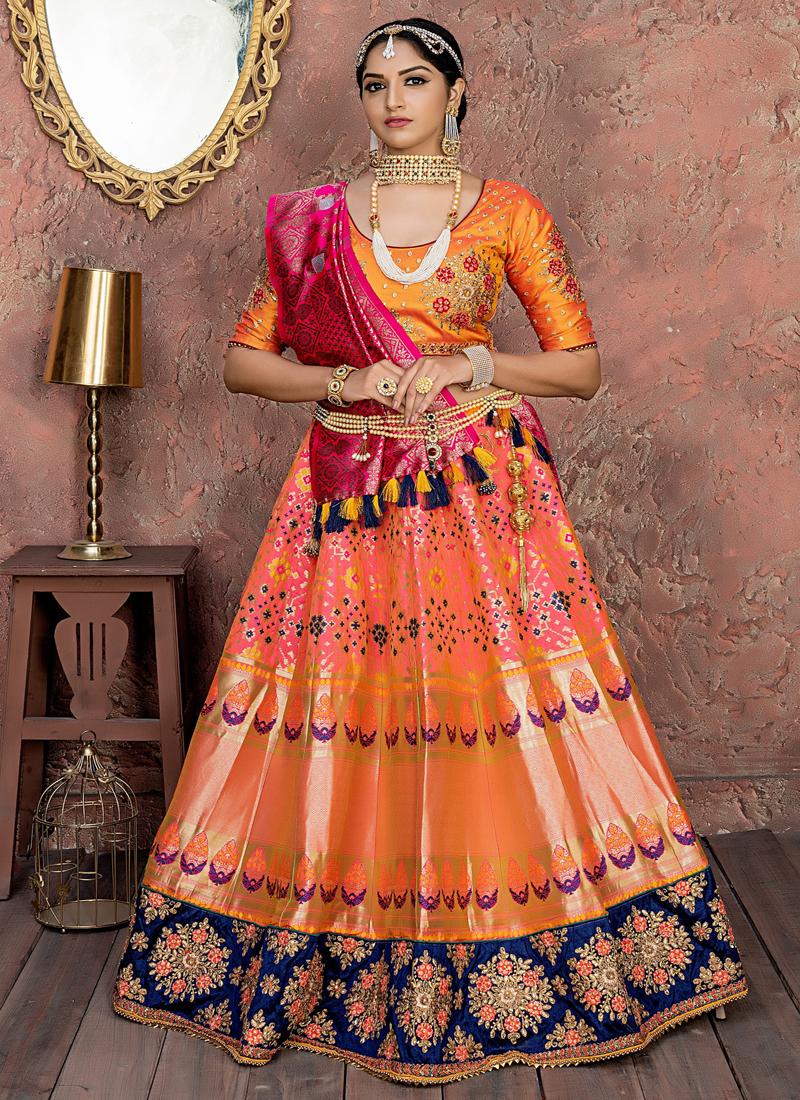 Orange And Pink Dori Work bridal Lehenga