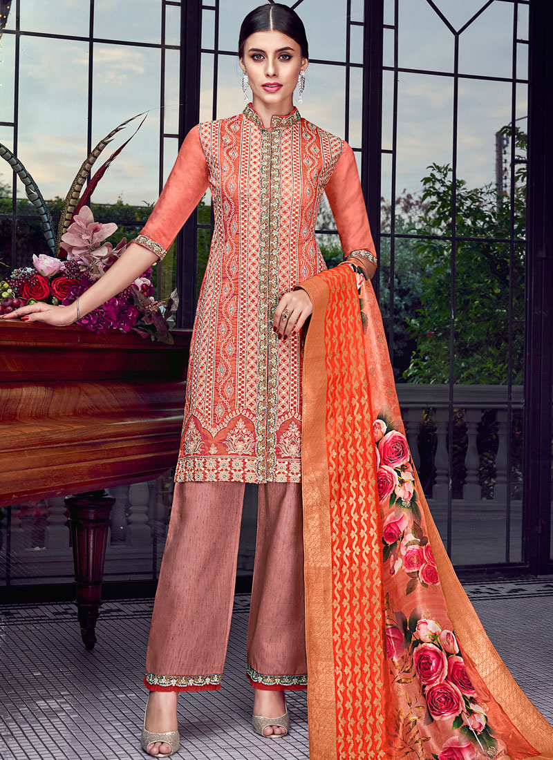 Orange and Rust Embroidered Designer Pakistani Suit