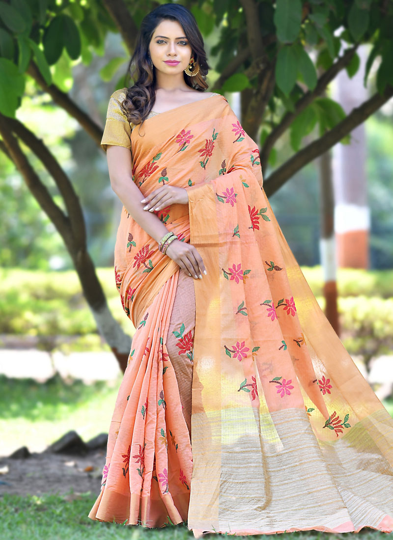 9199cb903f Orange Banarasi Silk Ceremonial Designer Saree. Hover to zoom