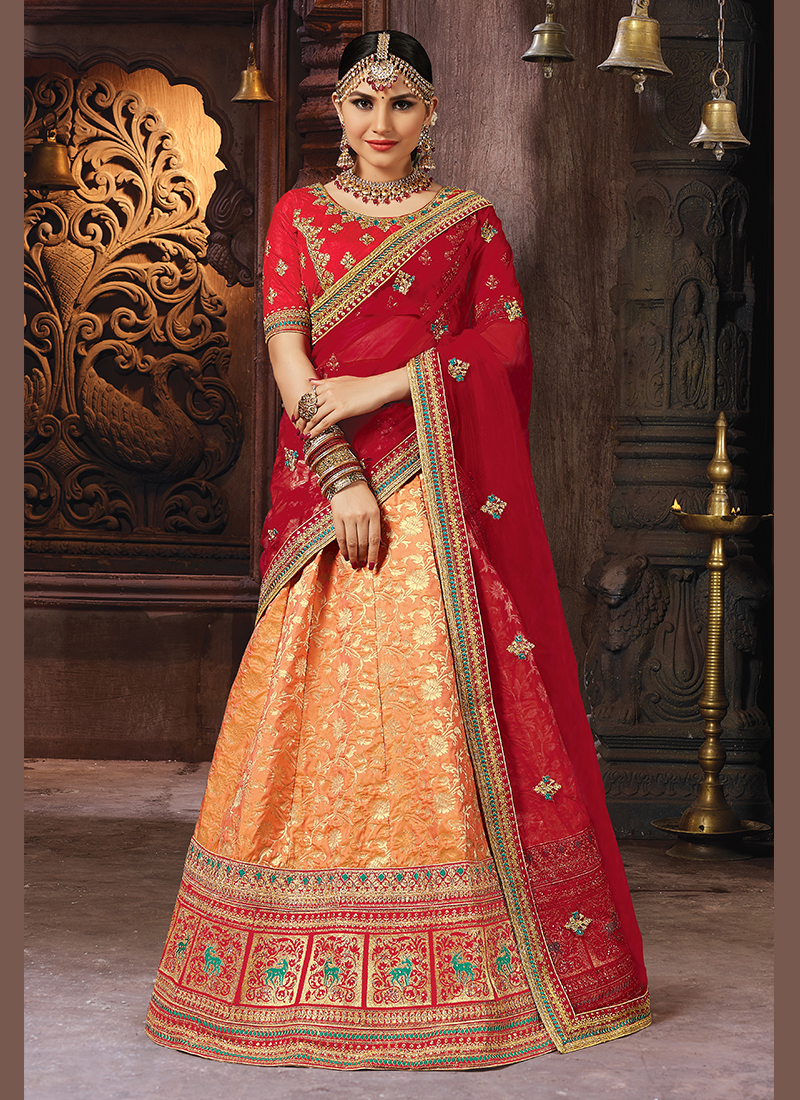 Orange Banarasi Silk Embroidered Designer Lehenga Choli