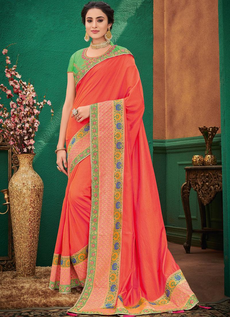 Orange Ceremonial Art Silk Designer Traditional Saree