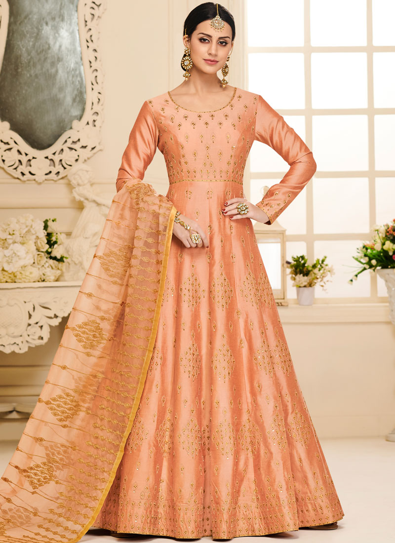 Orange Embroidered Sangeet Anarkali Salwar Suit