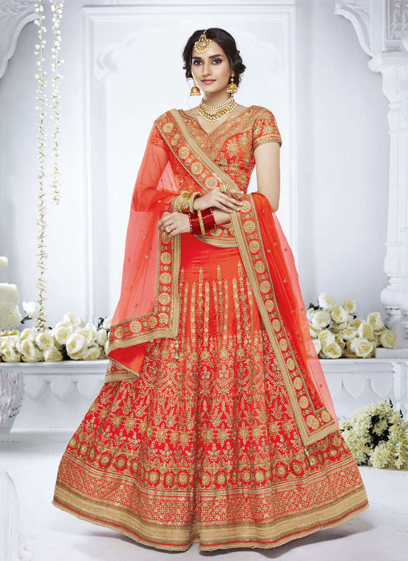 Orange Mehndi Designer Lehenga Choli