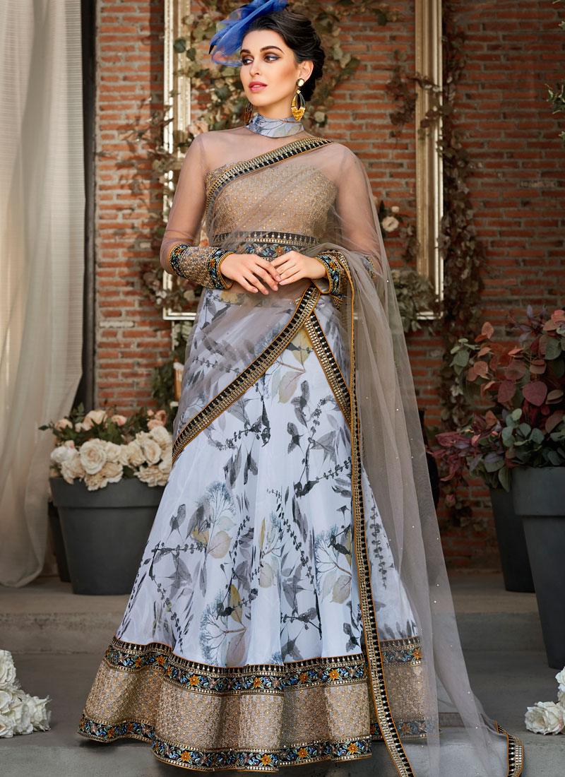Organza Embroidered Lehenga Choli in Blue