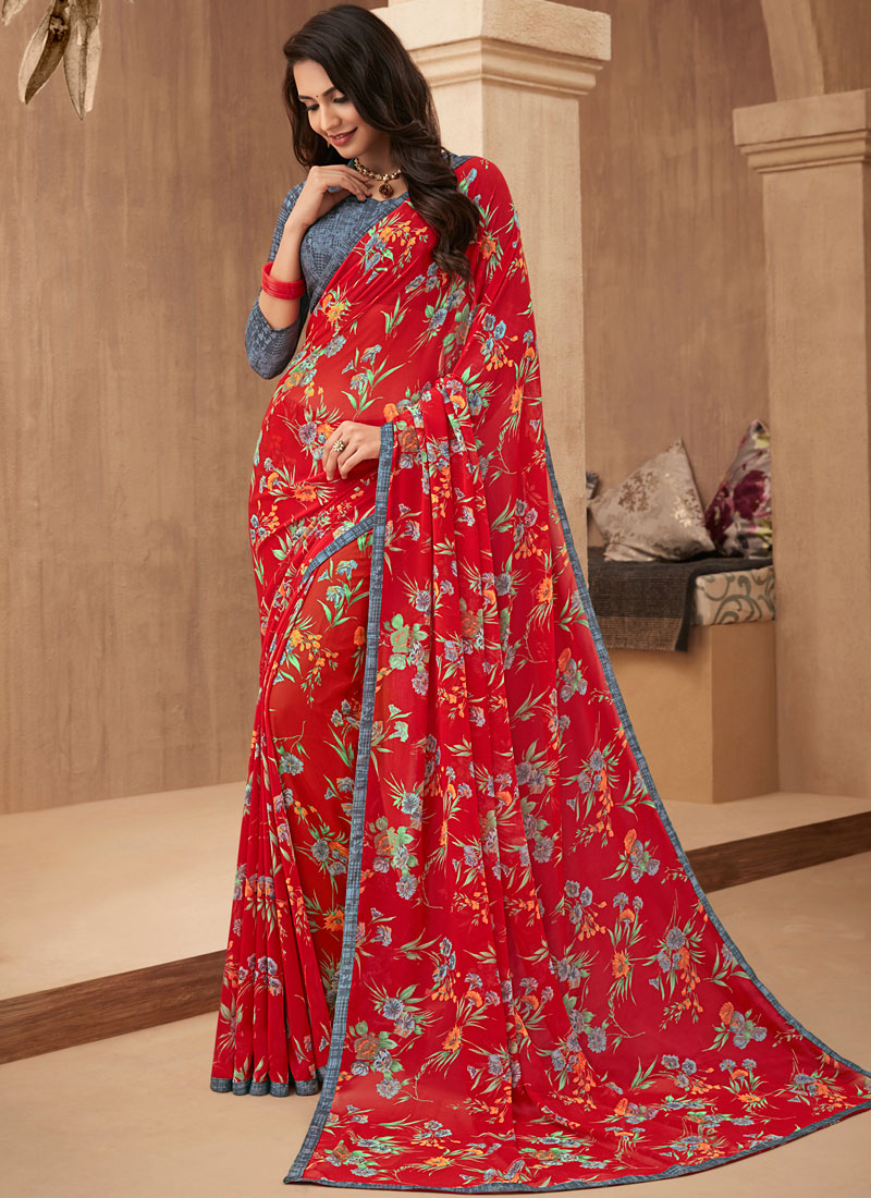 Orphic Red Printed Trendy Saree