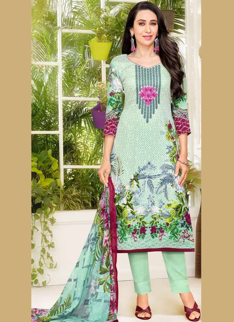 cb576ef6c6 Sale. Outstanding Karishma Kapoor Multi Colour Satin Pant Style Suit. Hover  to zoom
