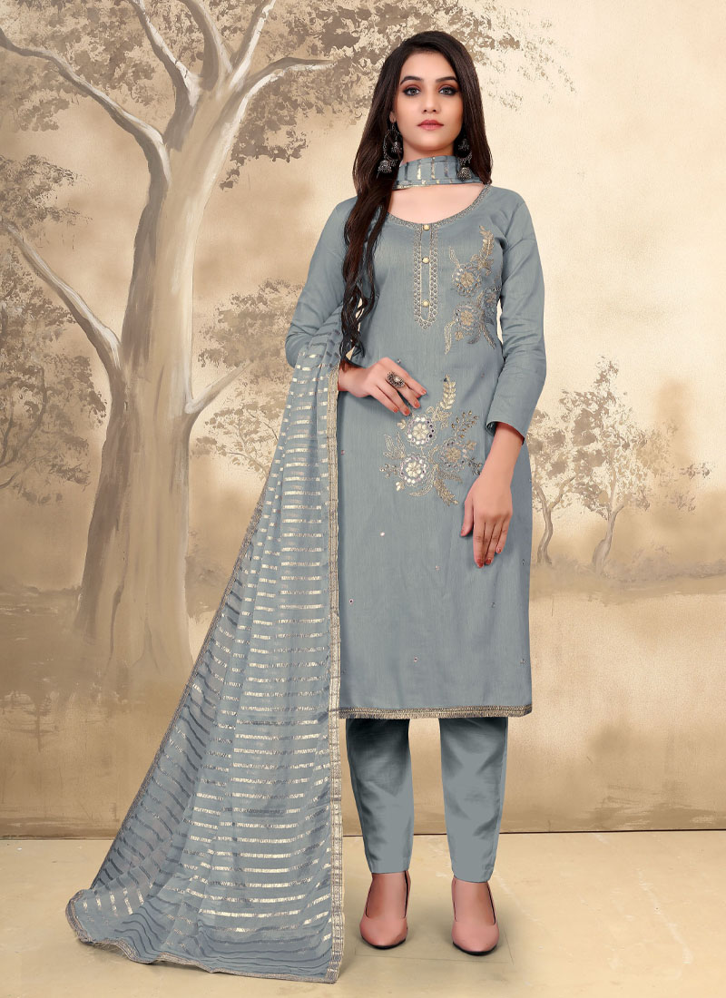 Pant Style Embroidery Salwar Suit In Grey