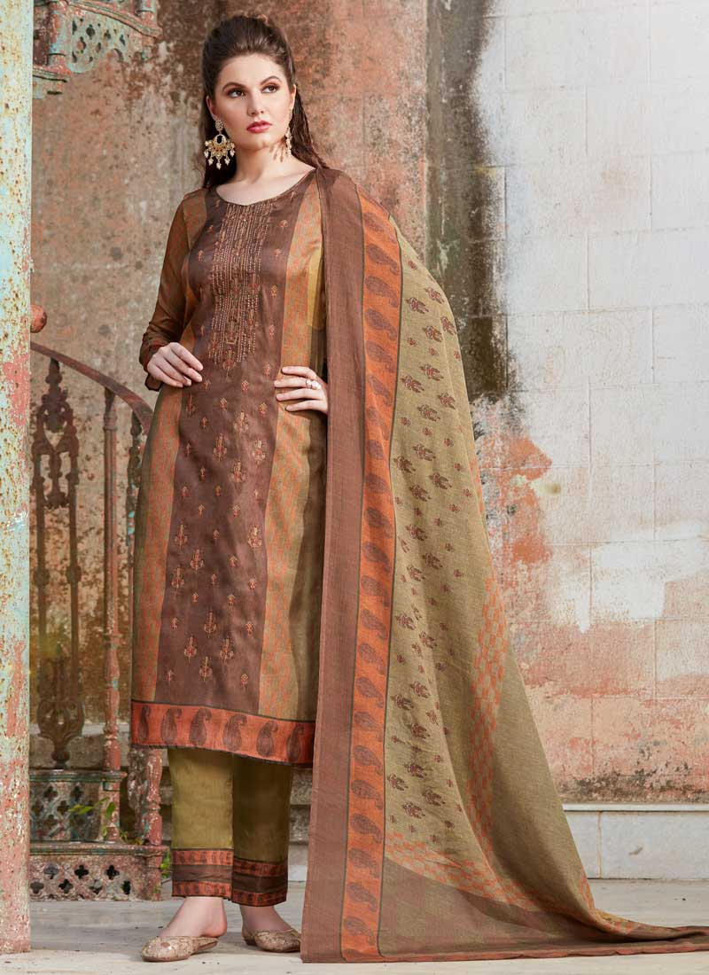 164edfcd14 Pant Style Suit Embroidered Tussar Silk in Brown. Hover to zoom