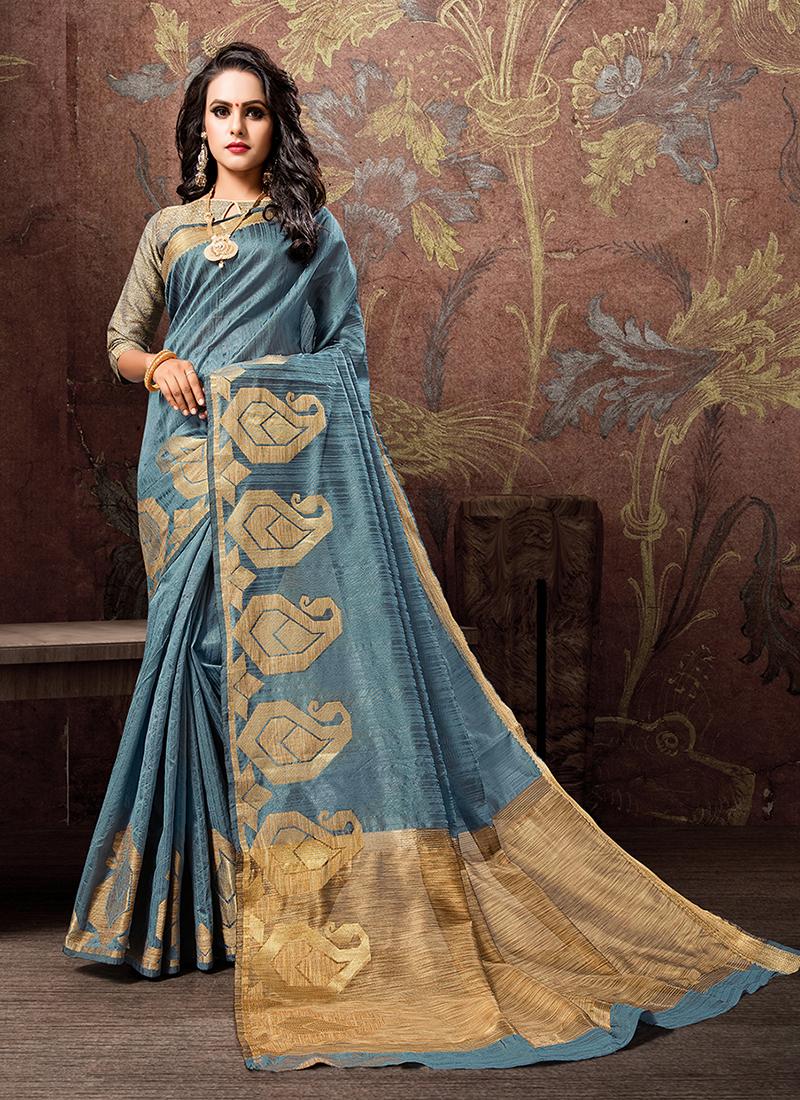 Paramount Woven Cotton Silk Blue Traditional Designer Saree