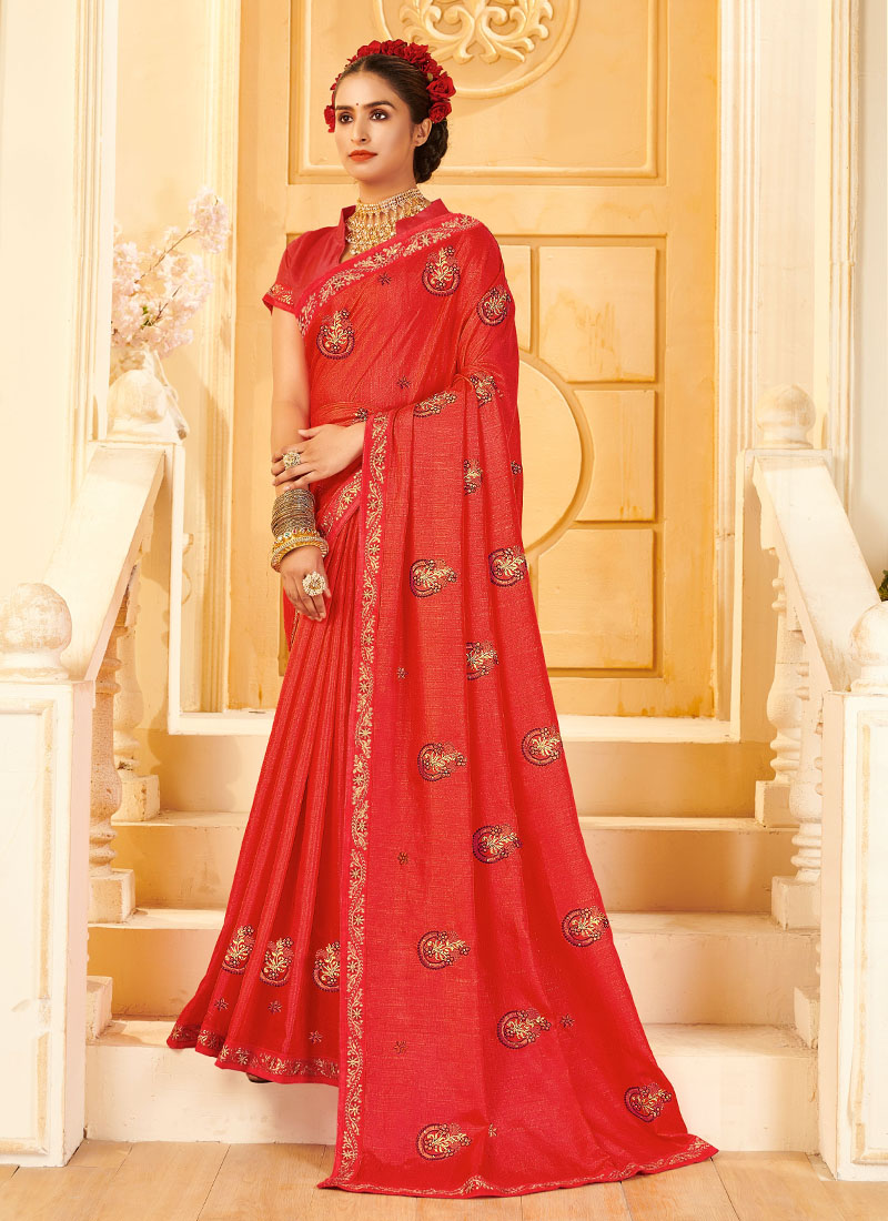 Party Wear Designer Silk Saree In Pink