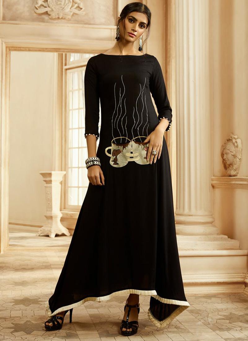 Party Wear Glorious Hand Work On Reyon Kurti In Black