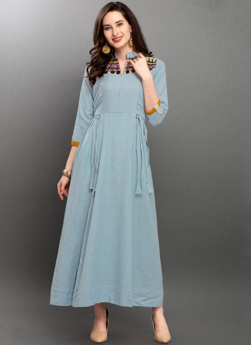 Party Wear Kurti Thread Linen in Blue