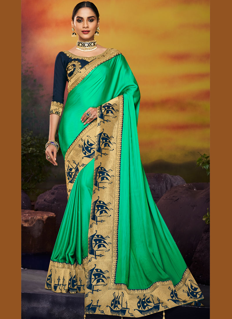 Patch Border Art Silk Designer Traditional Saree in Green