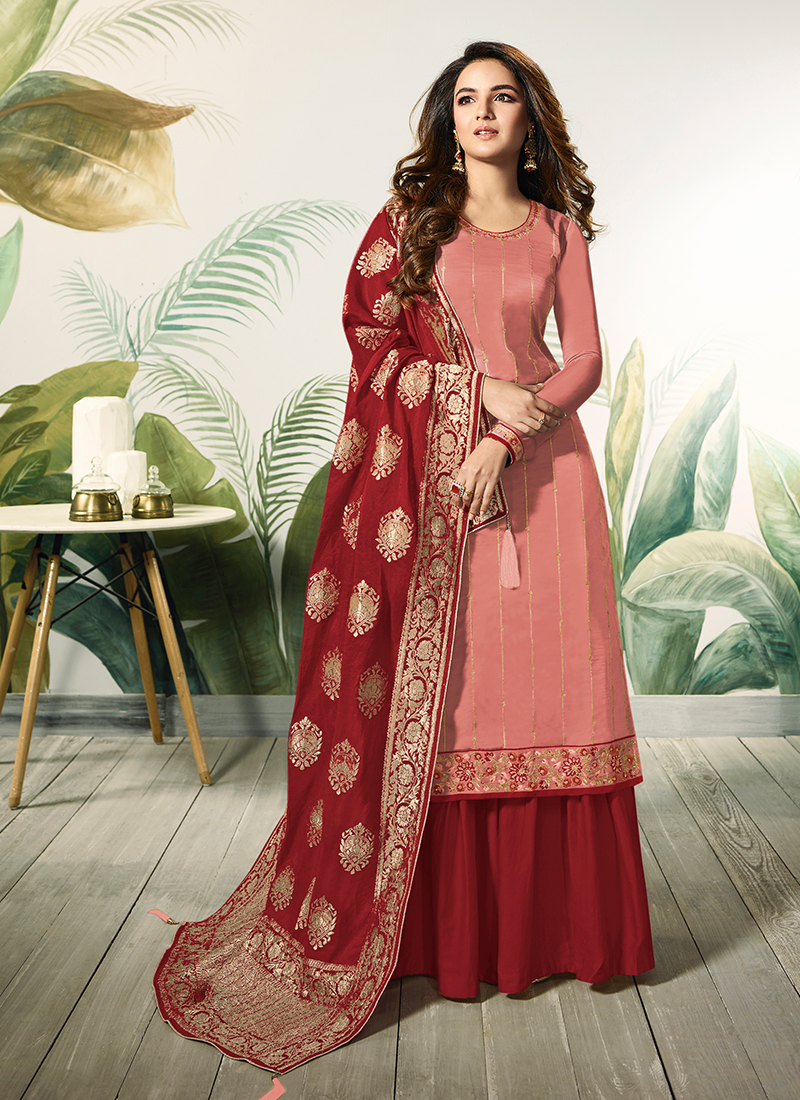 a7995cba37 Peach and Red Ceremonial Satin Silk Designer Palazzo Suit. Hover to zoom