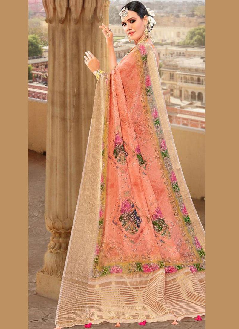 Peach Fancy Fabric Weaving Traditional Saree