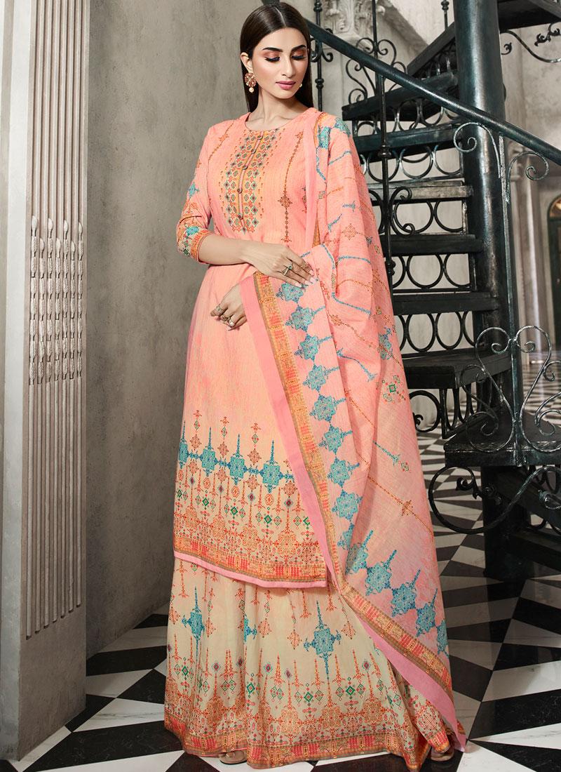Peach Handwork Cotton Designer Palazzo Suit